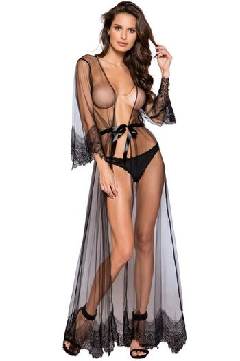 Elegant Sheer and Lace Robe
