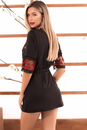 Embroidered Floral Robe