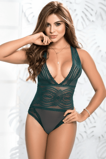 Embroidered Sheer Teddy