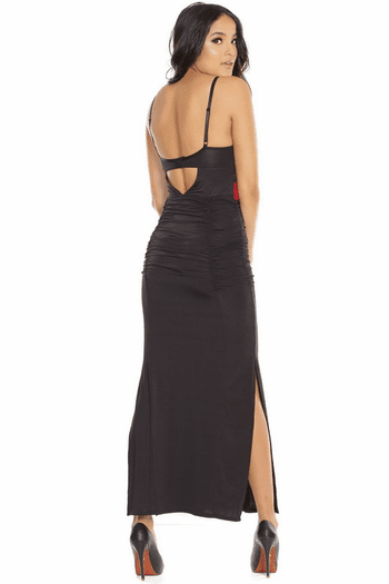 Embroidered Strappy Cutaway Gown