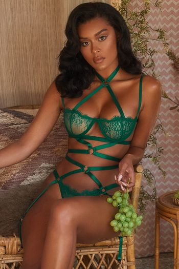 Emerald Green All Strapped Down Gartered Teddy