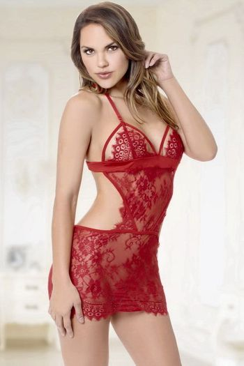 Everlasting Love Eyelash Lace Babydoll & Thong Set