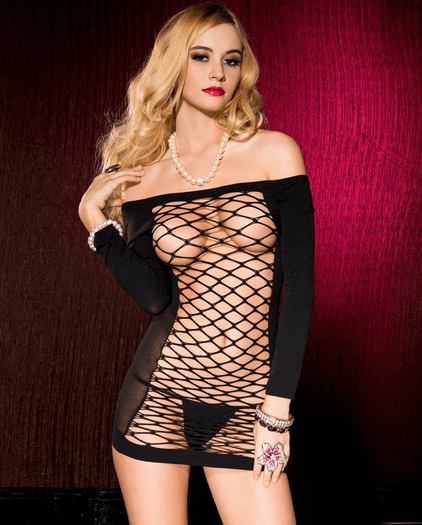 Exotic Seductress Long Sleeve Fishnet Chemise