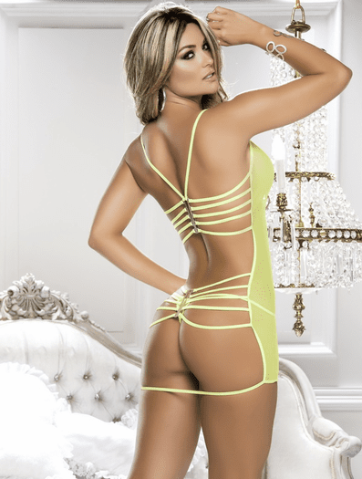 Explosive Sexy Mesh Strappy Chemise & Thong Set