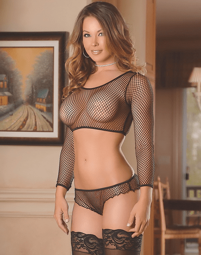 Exposed Fishnet Arousal Sexy Crop Top Set