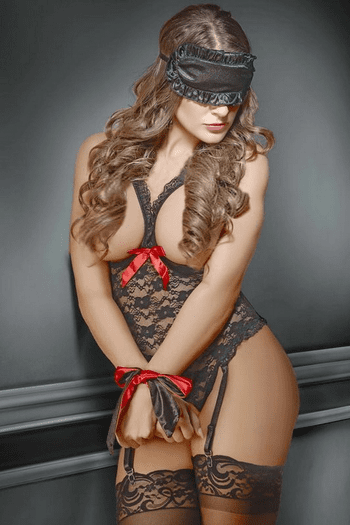 Exposed Lace Cupless Crotchless Teddy & Bondage Set