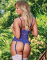 Royal Blue Exposed Love Lace Cupless & Crotchless Teddy