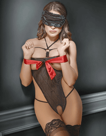 Exposed Open Bust Teddy & Bondage Set
