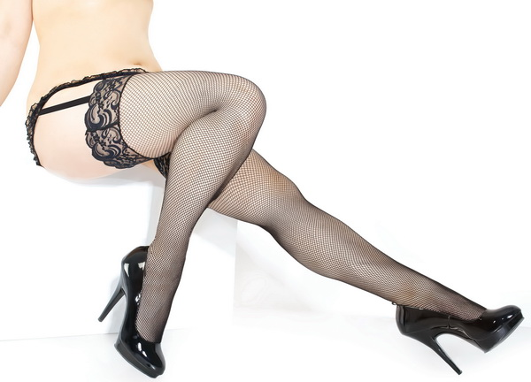 Extra Plus Size Fishnet Thigh High With Lace Top