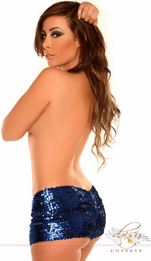 Extremely Hot Blue Sequin Booty Shorts