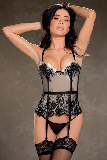 Eyelash Lace and Spandex Bustier