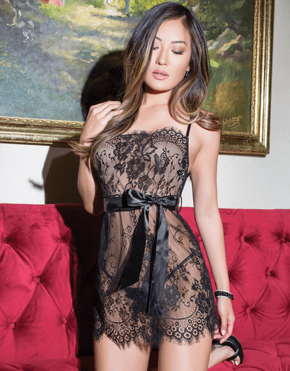 Fancy Sleep Over Black Lace Chemise & Thong Set
