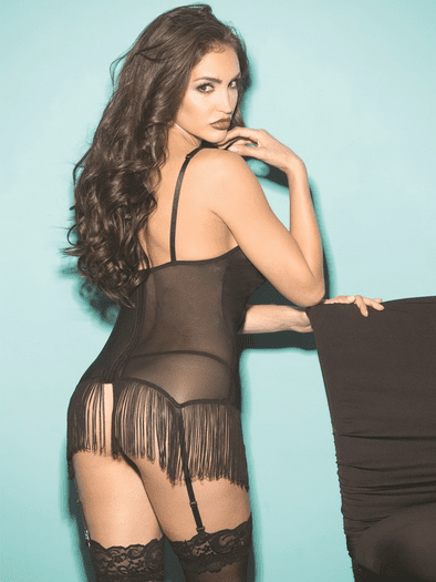 Fantastic Fringe Garter Chemise & Stockings Set