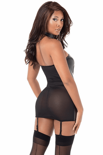 Faux Leather Gartered Chemise