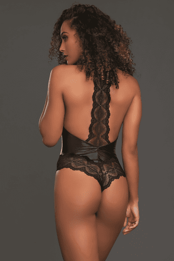 Faux Leather & Lace Thong Back  Teddy