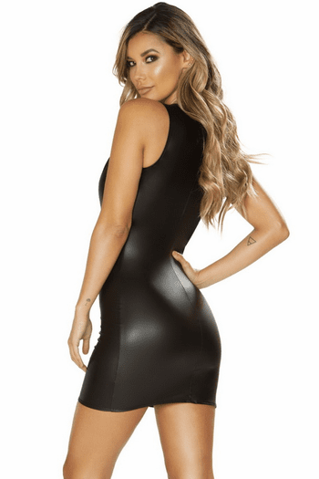 Faux Leather Plunging Mini Dress