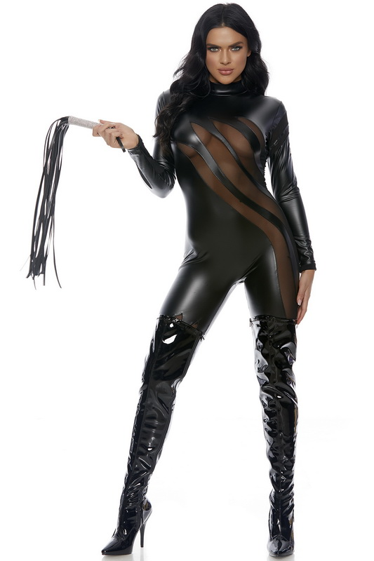 Faux Leather Sexy Black Cat Costume Spicy Lingerie