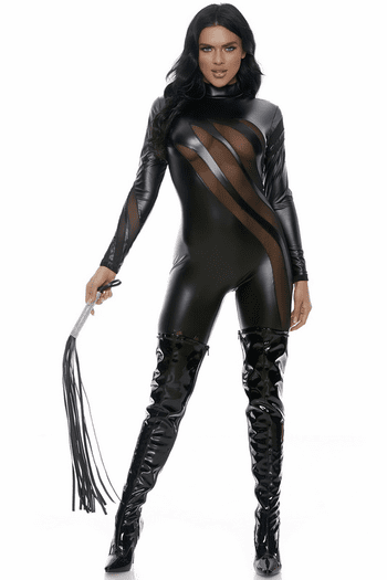 Faux Leather Sexy Black Cat Costume
