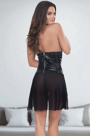 Faux Leather Sheer Dress