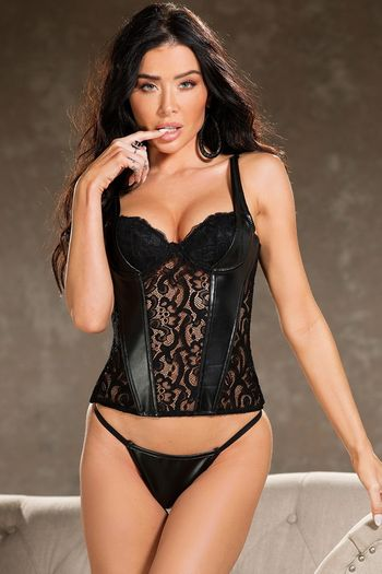 Faux Leather Stretch Lace Corset Top