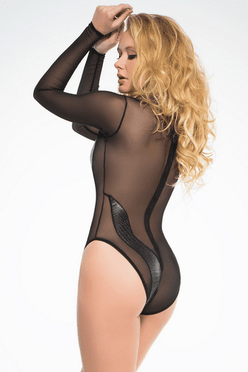 Faux Snake Sheer Bodysuit