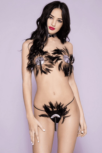 Feathered Pasties & Thong Set