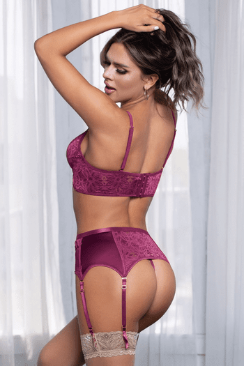Festive Wine Satin & Lace Bra Set