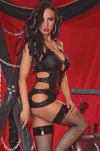 Fetish Cut Out Chemise & G-String Set