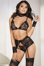 Fetish Lace Bra & Restraint Set