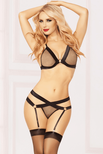 Fishnet Fever Bra, Thong, & Stockings Set