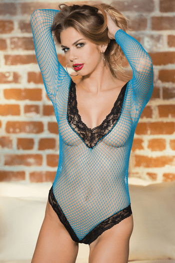 Fishnet Flirty Long Sleeve Teddy