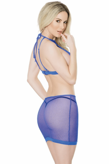 Fishnet Halter Top & Skirt Set
