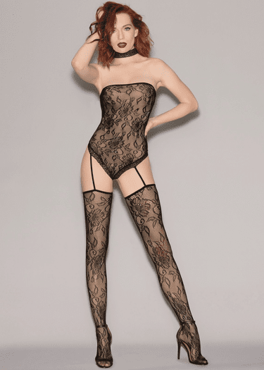 Black Fishnet Lace Bodystocking