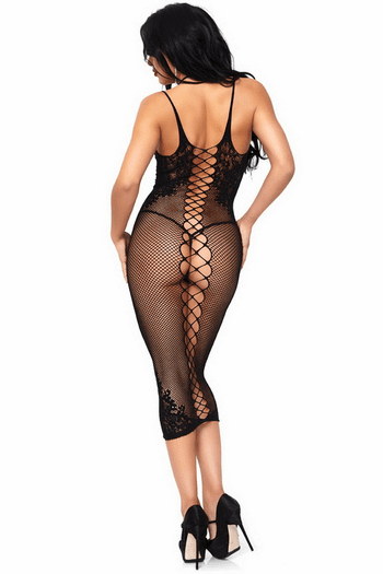 Fishnet & Lace Halter Dress