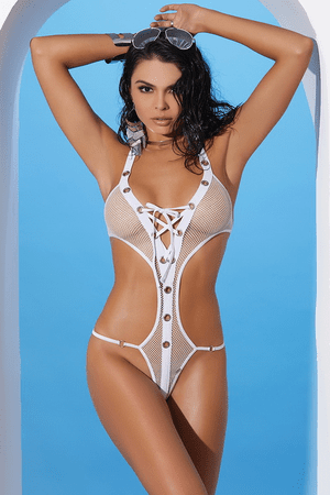Fishnet Lace Up Monokini