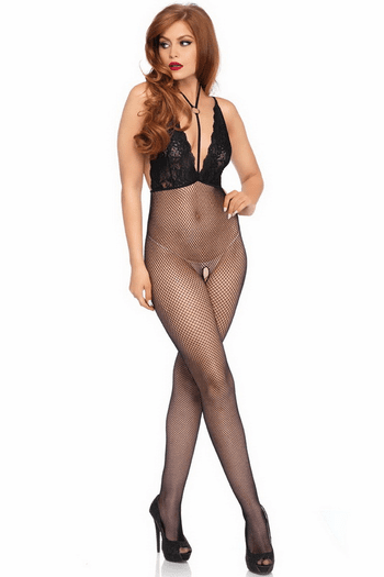 Fishnet & Lace Open Crotch Bodystocking