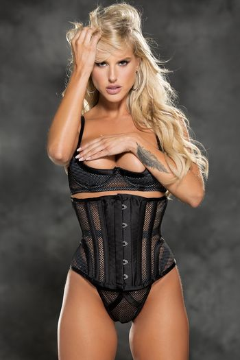 Fishnet & Satin Waist Cincher