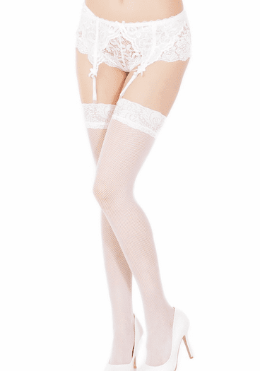 Fishnet Stockings With Lace Top