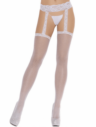 Fishnet Thigh Hi w/Lace Garterbelt