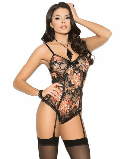 Flirty Escape Floral Lace Garter Teddy