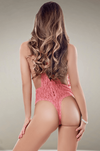 Flirty Pink Lace Teddy