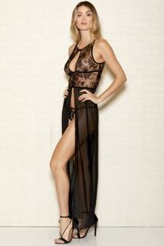 Flocking Velvet Mesh Gown