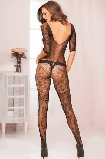 Floral Lace Crotchless Bodystocking