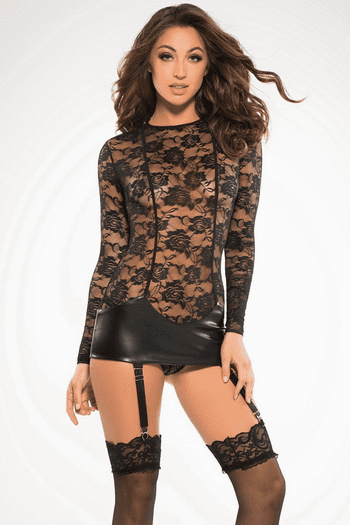 Floral Lace Gartered Chemise
