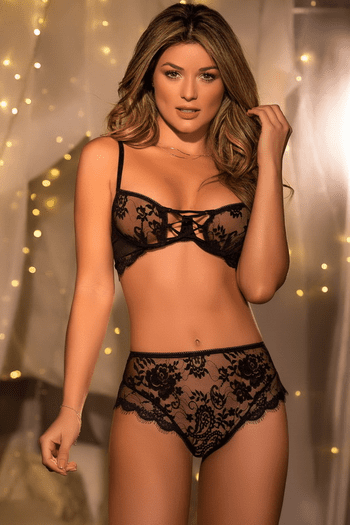 Floral Lace High Waisted Bra Set