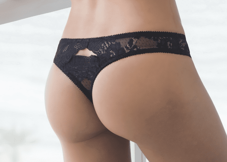 Floral Scalloped Lace Thong