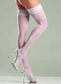 Floral Pattern Sexy Lace Top Thigh Highs