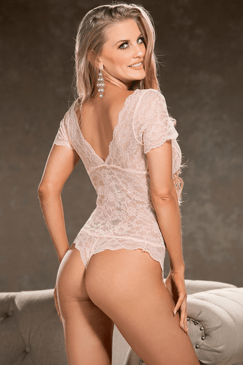 Floral Patterned Stretch Lace Teddy