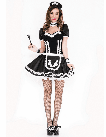 Flowery Lacy French Maid Costume