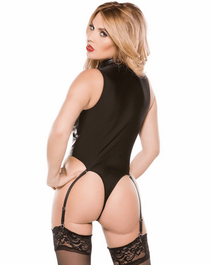 For Your Affection Faux Leather Garter Teddy